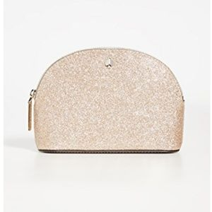 kate spade small dome cosmetic bag rose gold nwt